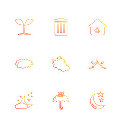 Plants dustbin umbrella ecology sun cloud vector
