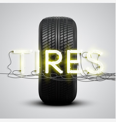 realistic tires with neon sign vector image