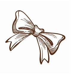 ribbon tied in cute monochrome sketch outline vector image