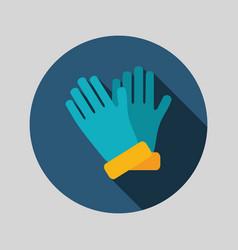 Rubber garden gloves flat icon vector