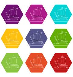 sailing ship icons set 9 vector image
