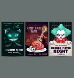 Scary banners and posters set horror party vector