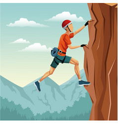 scene landscape man climbing rock mountain without vector image