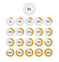 set circle percentage diagrams vector image