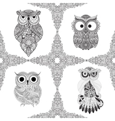 Set from of ornamental owls vector image