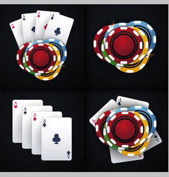 set of casino chips and playing card on the dark vector image