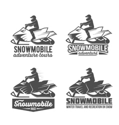 Set of snowmobile dadges vector