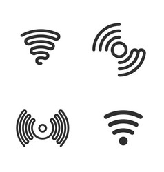 Set of wifi black icons vector