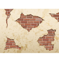 Set old shabby concrete and brick cracks vector