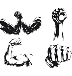Silhouette mma fighter bodybuilder arm logo vector