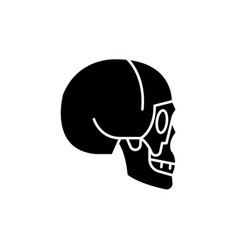 skull side view black icon sign on vector image