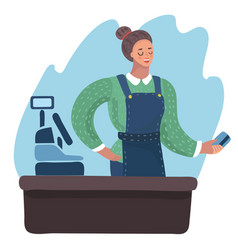 smiling cashier girl vector image