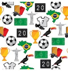 Soccer seamless pattern Brazil summer world game vector image