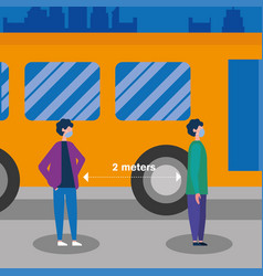 Social distancing between boys with masks and bus vector