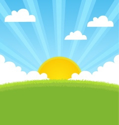 summer landscape with sun and blue sky vector image