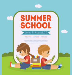 Summer school banner template with cute boy and vector