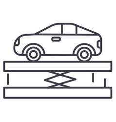 Suspensioncar service line icon sign vector