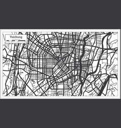 Taichung taiwan indonesia city map in black vector
