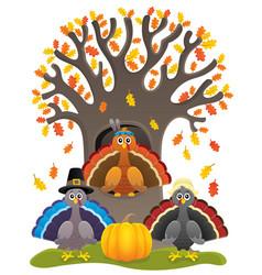 Thanksgiving turkeys thematic image 1 vector