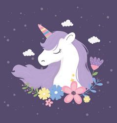 unicorn flowers clouds fantasy magic dream cute vector image