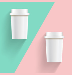 vintage style white take away coffee cups on vector image