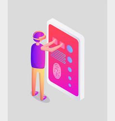 virtual reality man and screen vector image