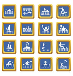Water sport icons set blue vector