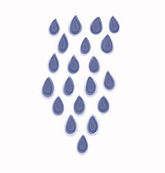 Watercolor rain droplet motif on white background vector