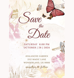 Wedding invitation floral template aesthetic vector