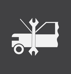 White icon on black background car and tool vector