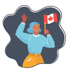 woman with national flag canada vector image