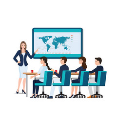 business woman presenting on whiteboard vector image vector image