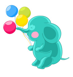 cartoon green cute elephant trunk inflates vector image vector image