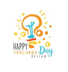 happy teachers day label design back to school vector image