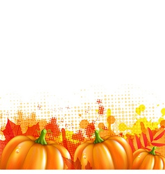 Orange With Blobs Autumn Leafs And Pumpkins vector image