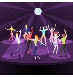 People dancing in nightclub dance floor flat vector