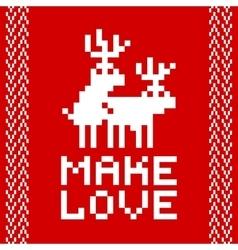Pixel art style retro game two deers making love vector image
