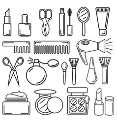 set of cosmetics elements in linear style vector image vector image