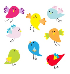 Set of cute cartoon birds vector image