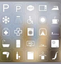 set of hotel icons vector image