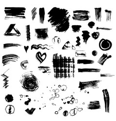 set or collection of black ink stains vector image