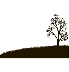 silhouette of birch tree with leaves at grass vector image vector image