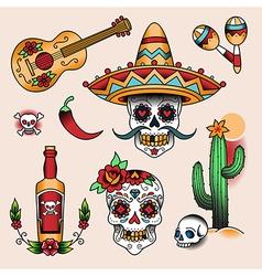 tattoo set mexico vector image
