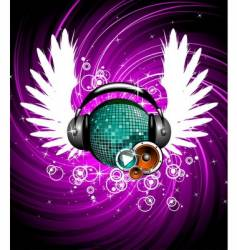 wings and headphone vector image