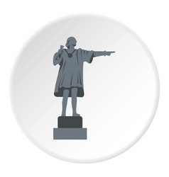 christopher columbus statue icon circle vector image