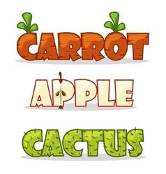 Funny textural word carrots apple and cactus vector