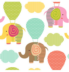 seamless pattern with elephant on air balloon vector image vector image