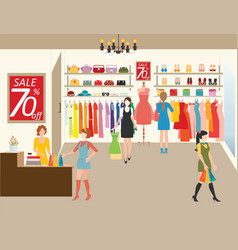 women shopping in a clothing store vector image