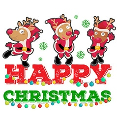 Christmas theme with three reindeers dancing vector image vector image