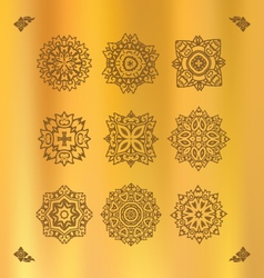 Design elements graphic Thai design on a gold clot vector image